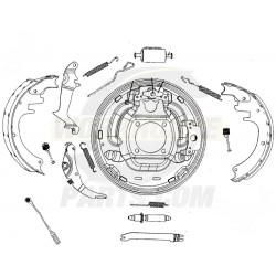 FRN452LK5 - P42 LH Rear Brake Backing Plate Asm w/ Shoes (JB8)