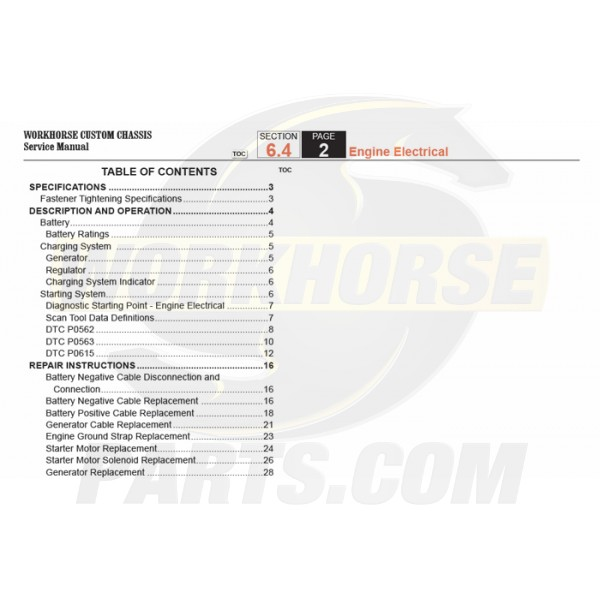 2007-2008 Workhorse R26 UFO Engine Electrical Service Manual Download