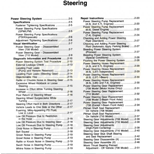 1999-2003 Workhorse Steering Service Manual Download